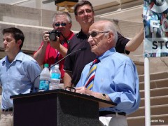 Dr. Hans Geisler addresses the Indianapolis Stand Up for Religious Freedom Rally